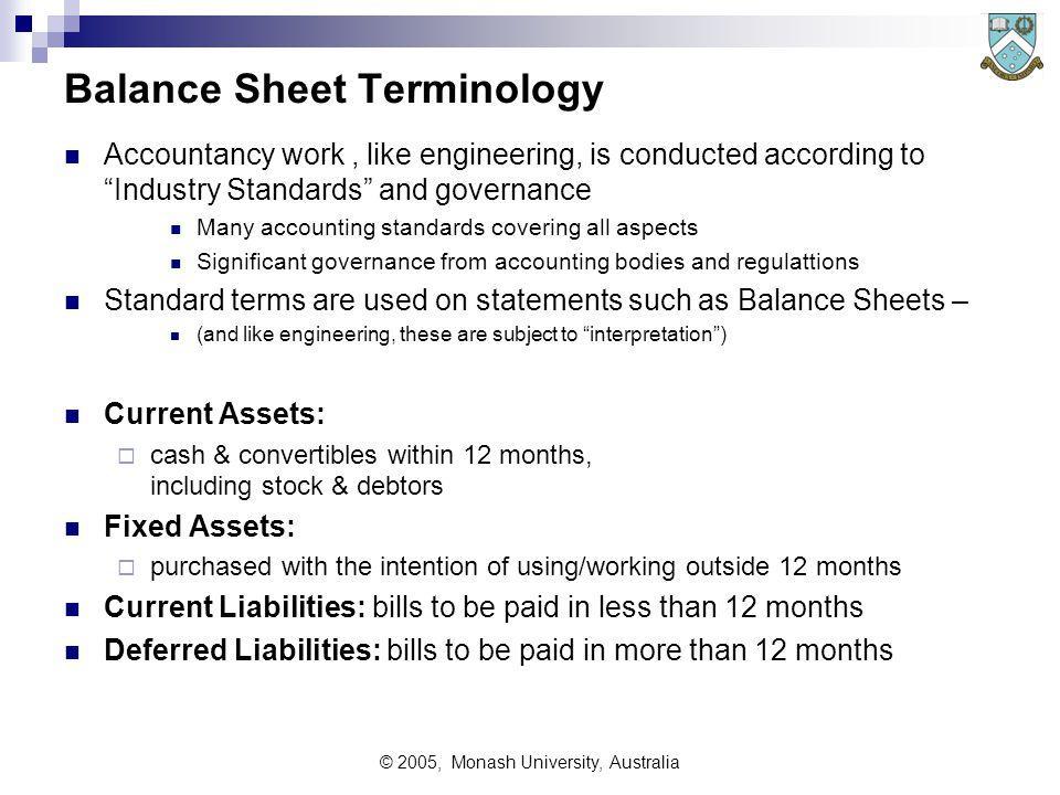 "© 2005, Monash University, Australia Balance Sheet Terminology Accountancy work, like engineering, is conducted according to ""Industry Standards"" and"