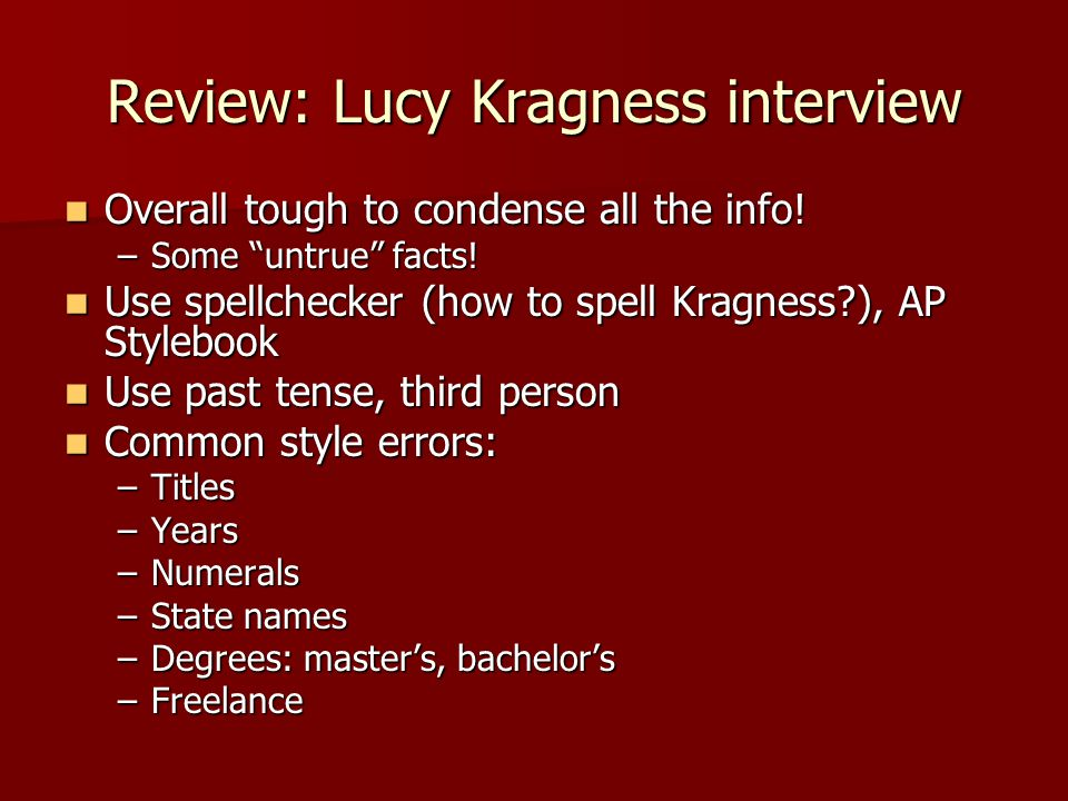 Review: Lucy Kragness interview Overall tough to condense all the info.