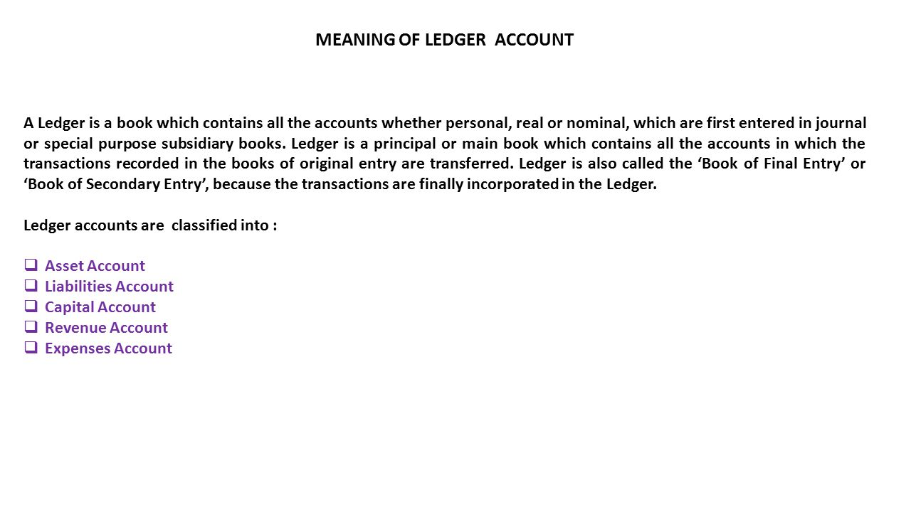 MEANING OF LEDGER ACCOUNT A Ledger is a book which contains all the accounts whether personal, real or nominal, which are first entered in journal or special purpose subsidiary books.