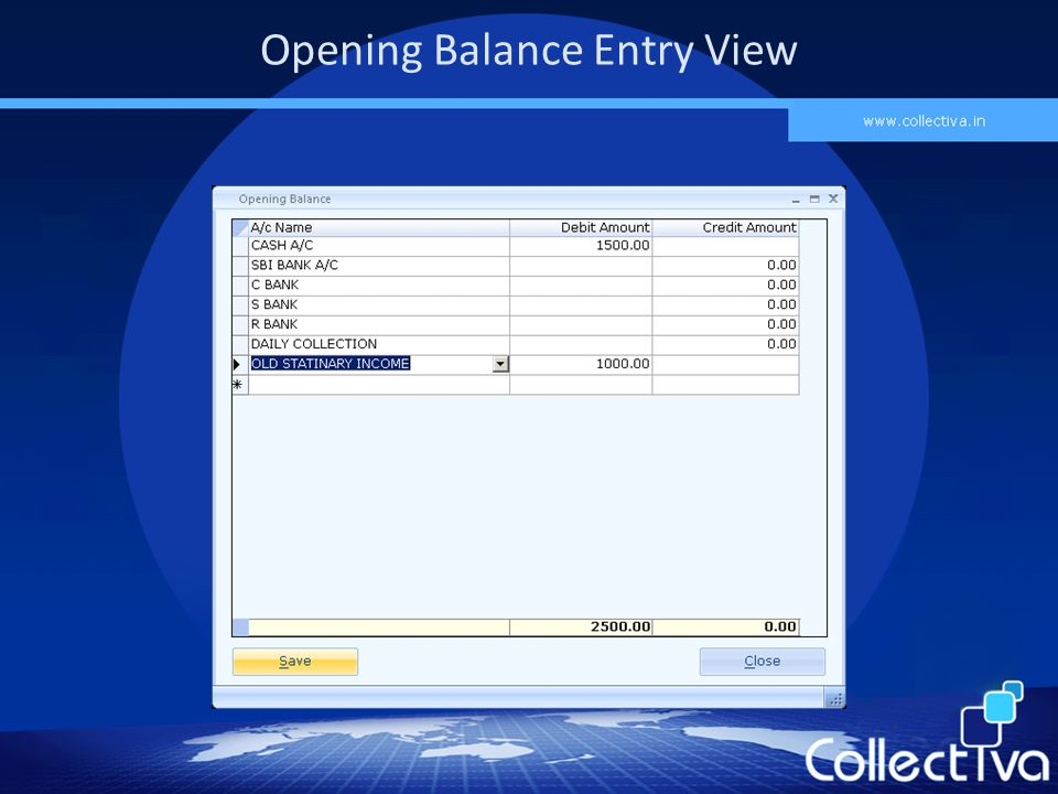 Opening Balance Entry View