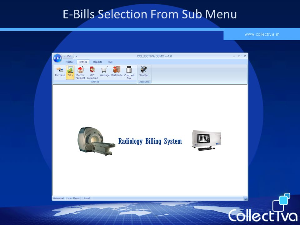 E-Bills Selection From Sub Menu