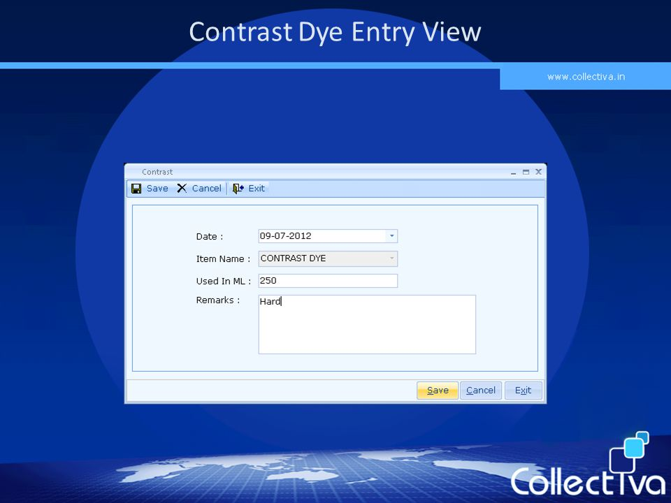 Contrast Dye Entry View