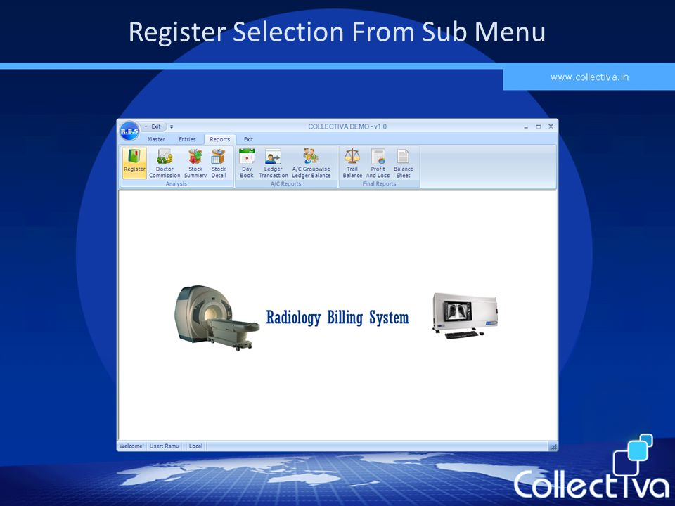 Register Selection From Sub Menu