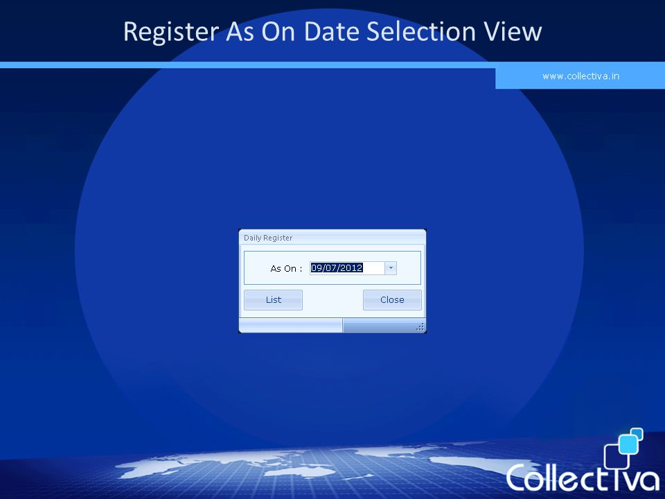 Register As On Date Selection View