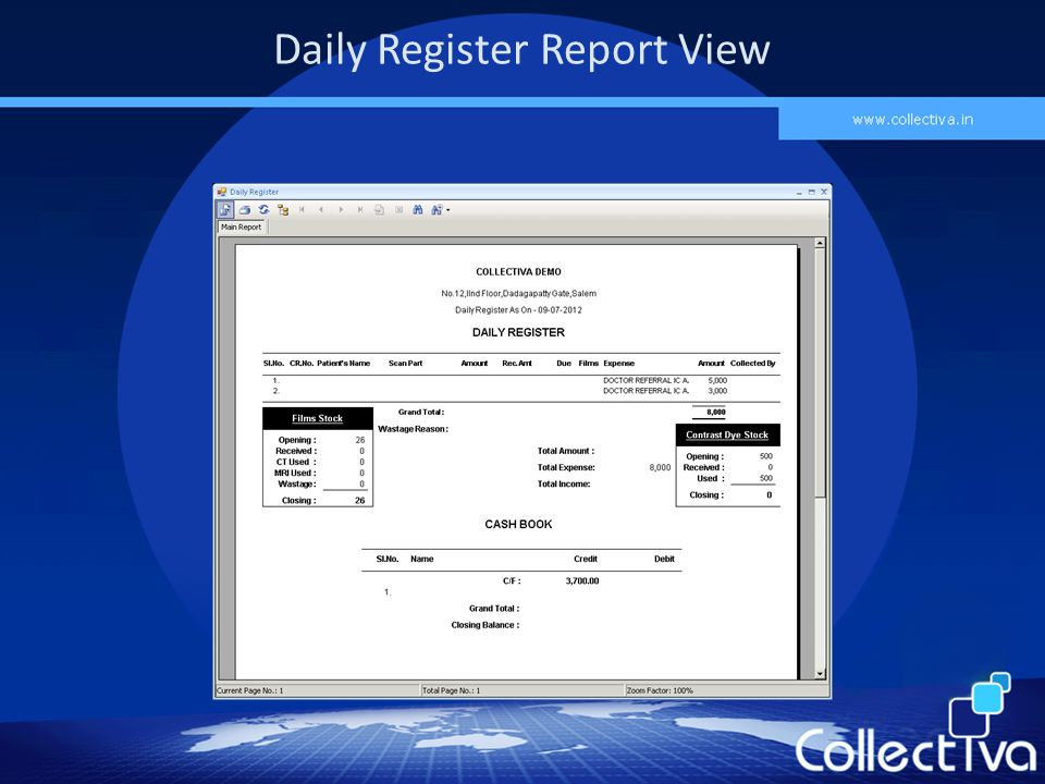 Daily Register Report View