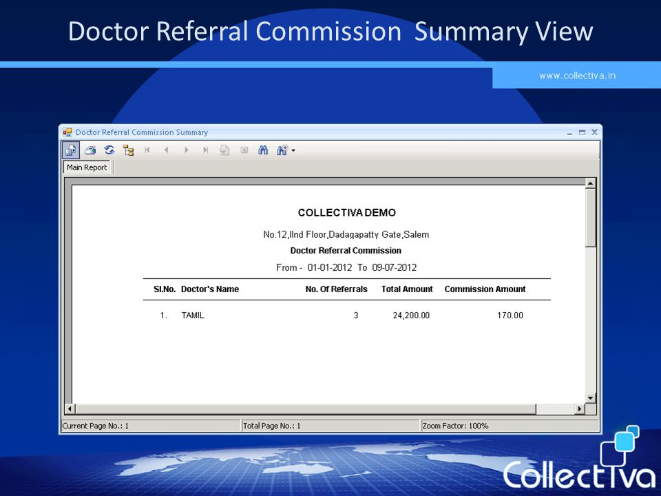 Doctor Referral Commission Summary View