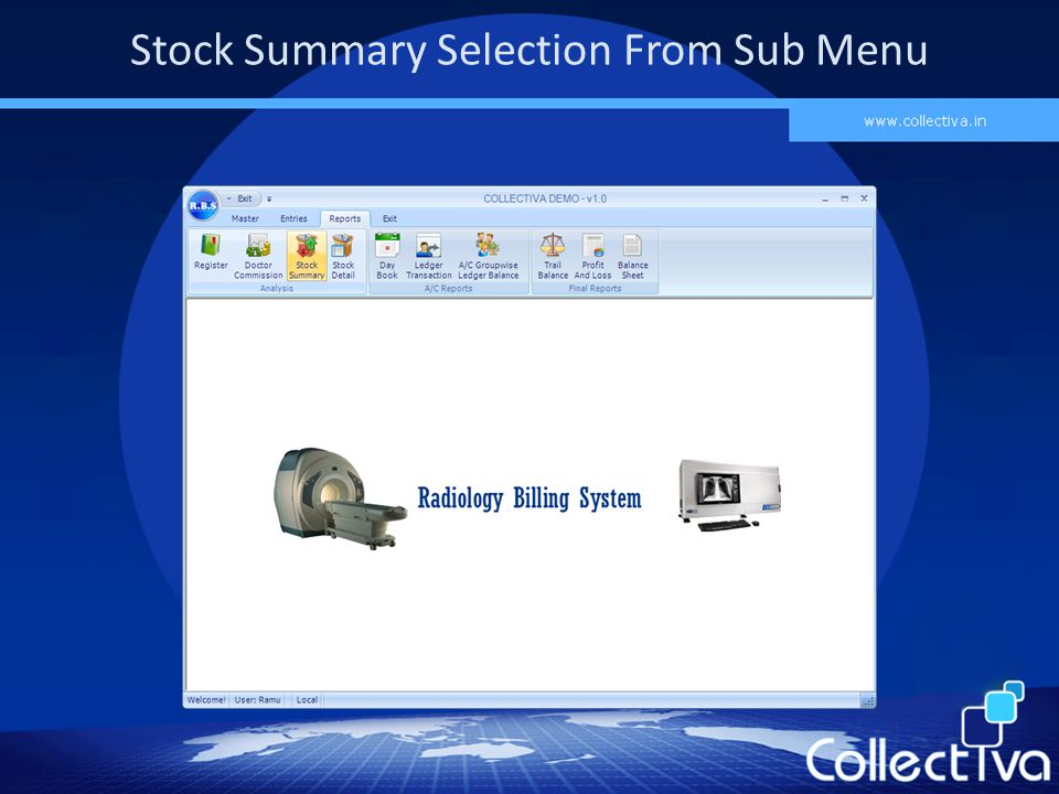 Stock Summary Selection From Sub Menu