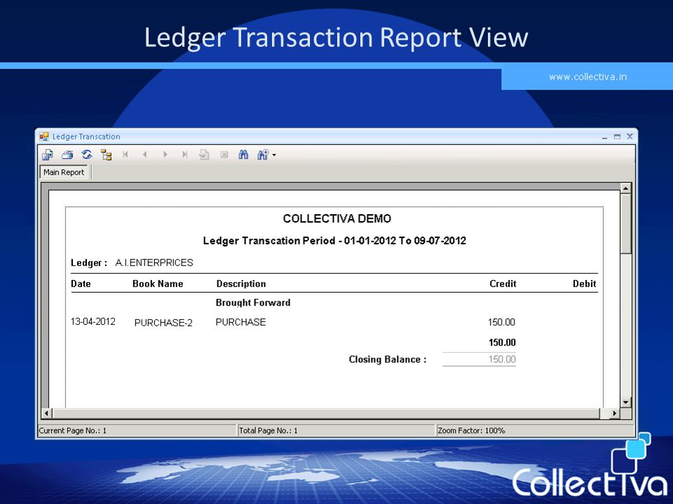 Ledger Transaction Report View
