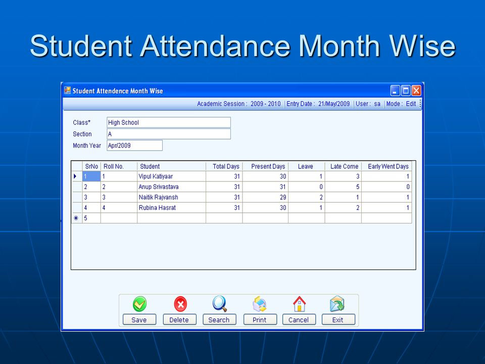 Student Attendance Month Wise