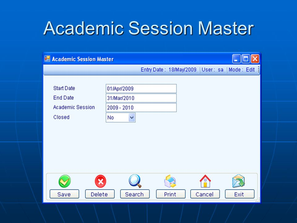Academic Session Master