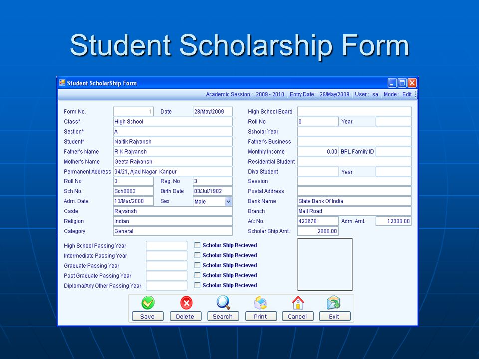 Student Scholarship Form