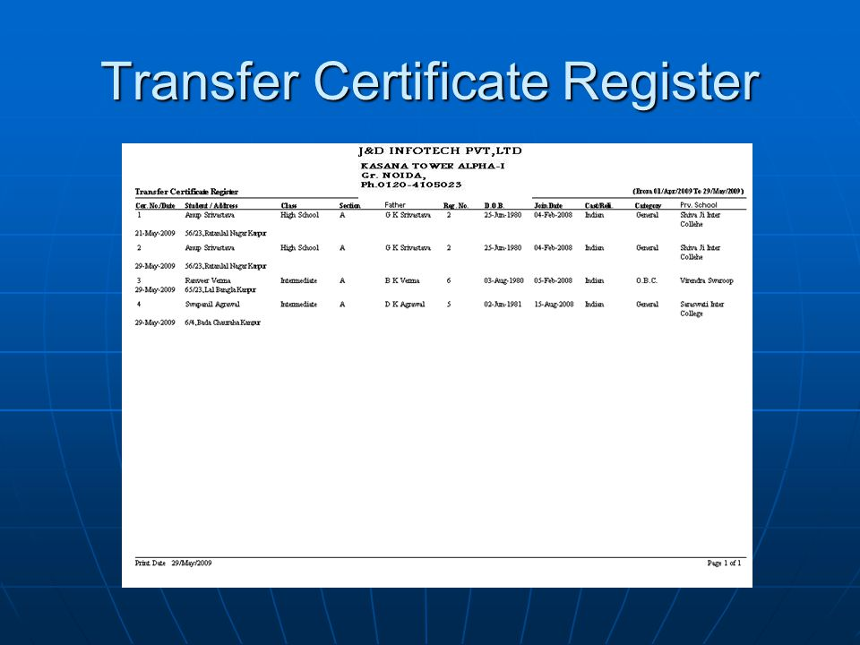 Transfer Certificate Register