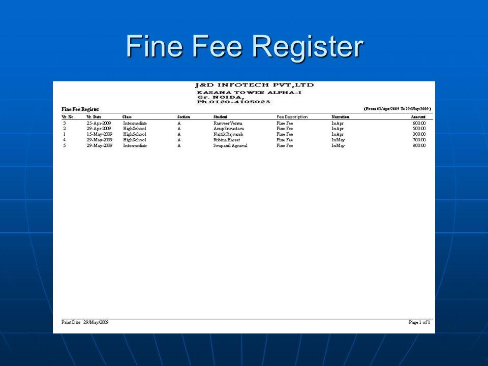 Fine Fee Register