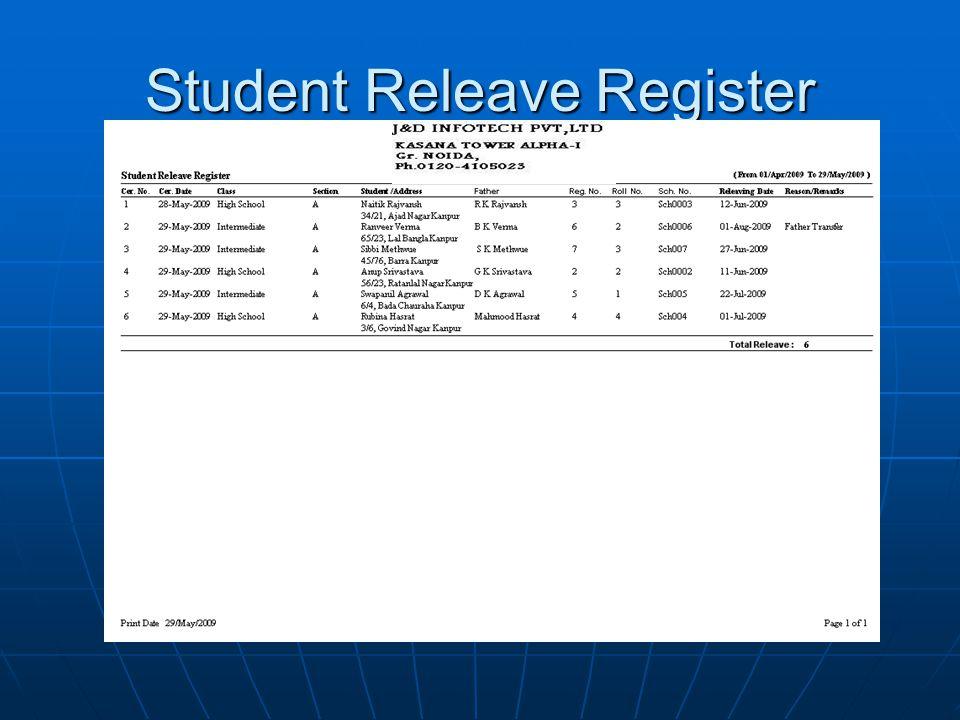 Student Releave Register