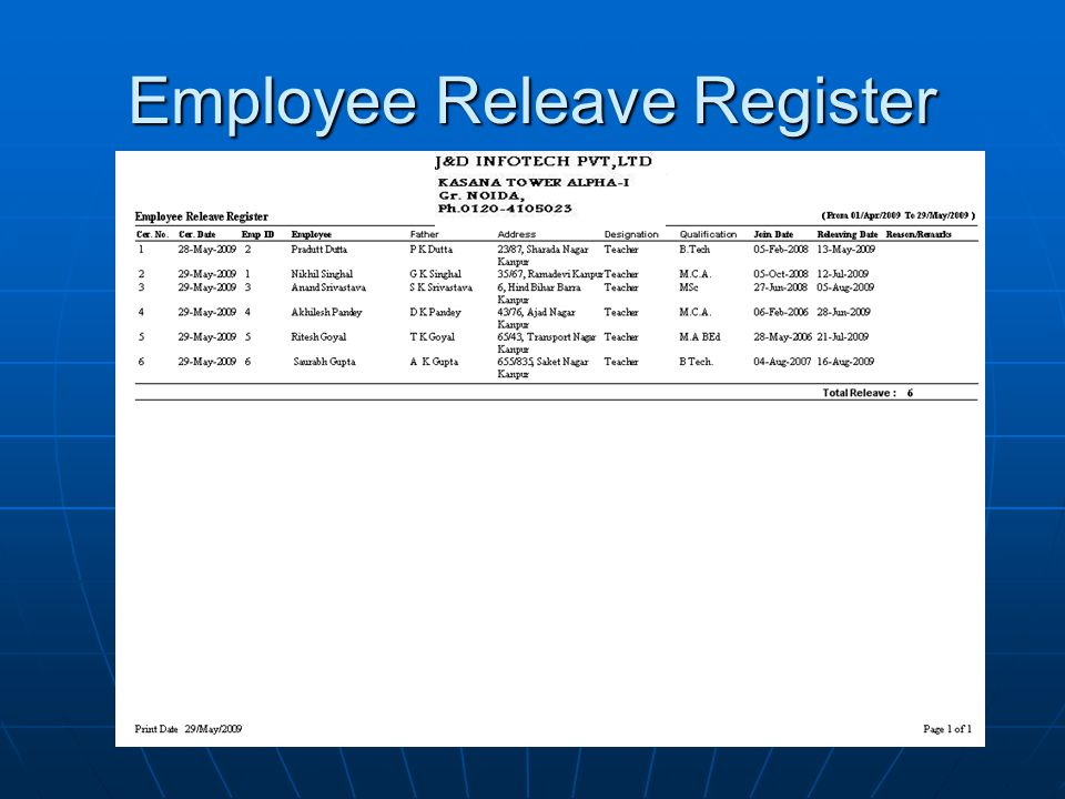 Employee Releave Register