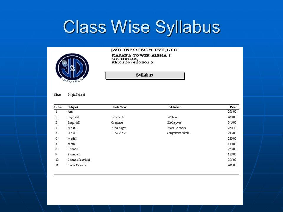 Class Wise Syllabus