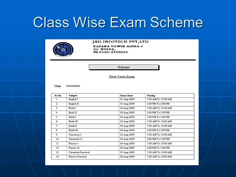Class Wise Exam Scheme