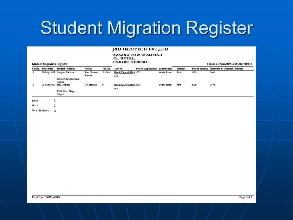 Student Migration Register