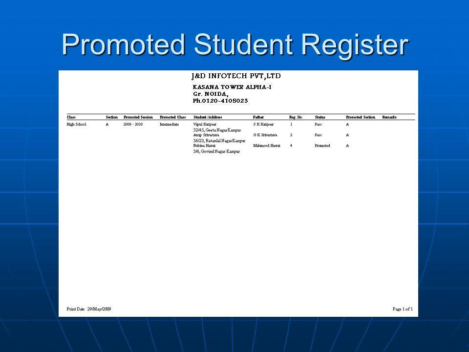 Promoted Student Register