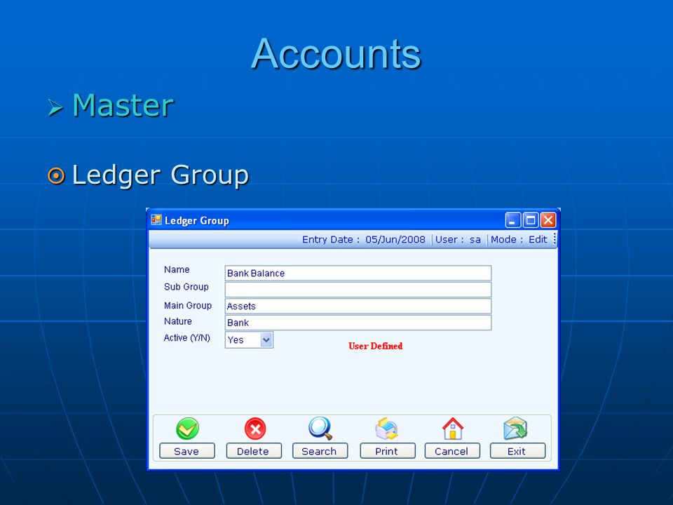 Accounts  Master  Ledger Group