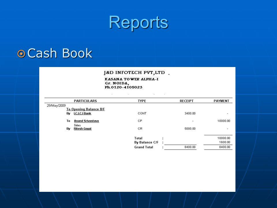 Reports  Cash Book