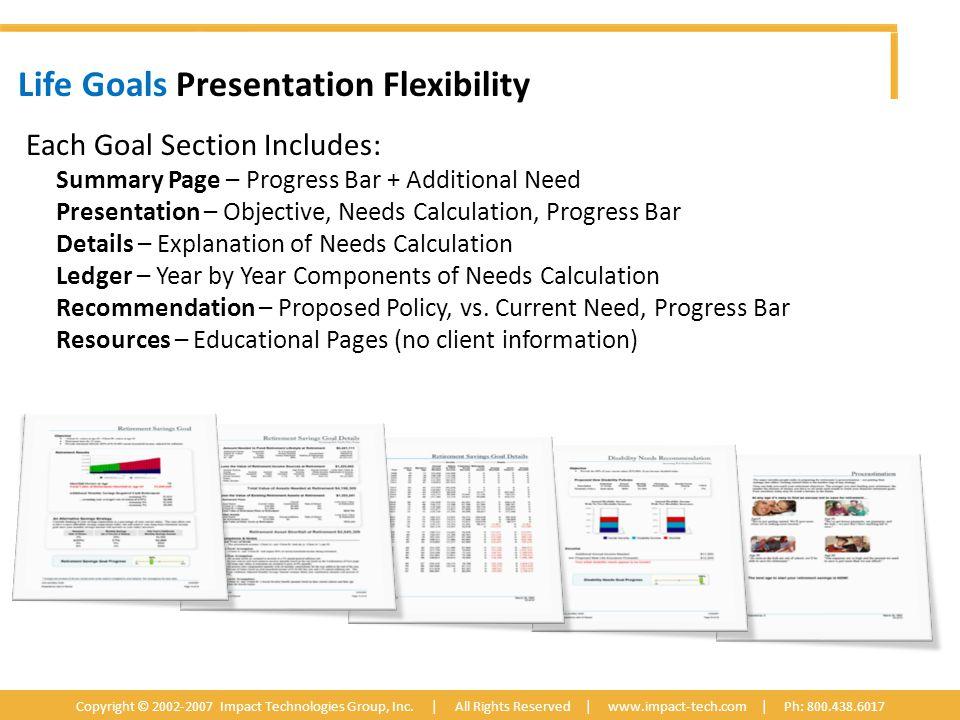 Life Goals Presentation Flexibility Copyright © 2002-2007 Impact Technologies Group, Inc.