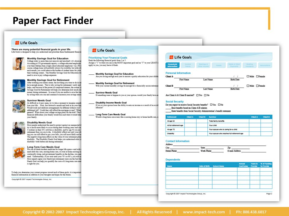 Paper Fact Finder Copyright © 2002-2007 Impact Technologies Group, Inc.