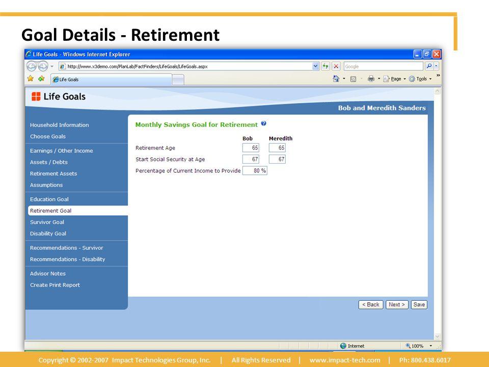 Goal Details - Retirement