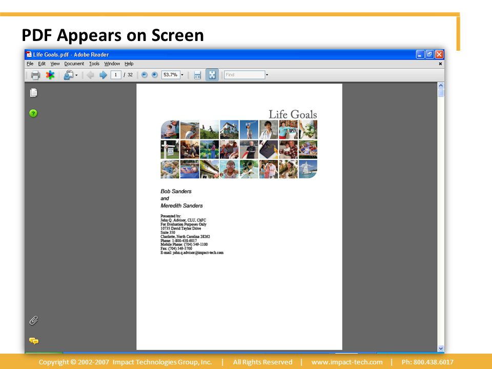 PDF Appears on Screen Copyright © 2002-2007 Impact Technologies Group, Inc.