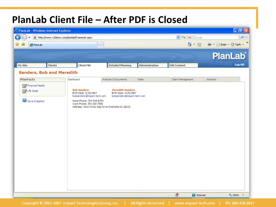 PlanLab Client File – After PDF is Closed Copyright © 2002-2007 Impact Technologies Group, Inc.
