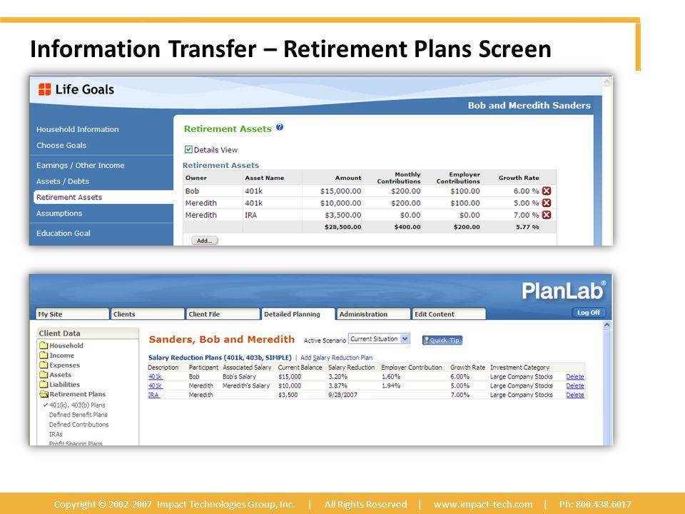 Information Transfer – Retirement Plans Screen