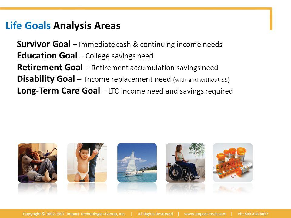 Life Goals Analysis Areas Copyright © 2002-2007 Impact Technologies Group, Inc.