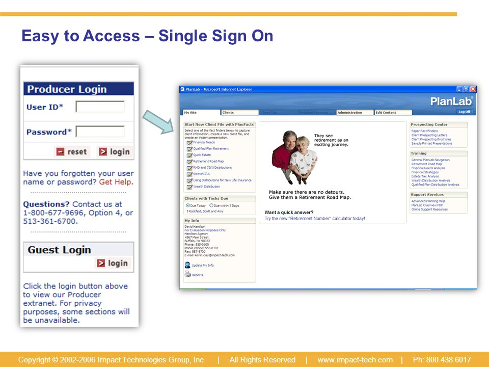 Easy to Access – Single Sign On Copyright © 2002-2006 Impact Technologies Group, Inc.