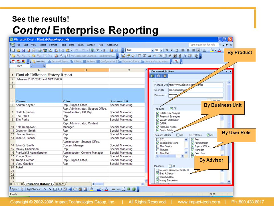 See the results. Control Enterprise Reporting Copyright © 2002-2006 Impact Technologies Group, Inc.