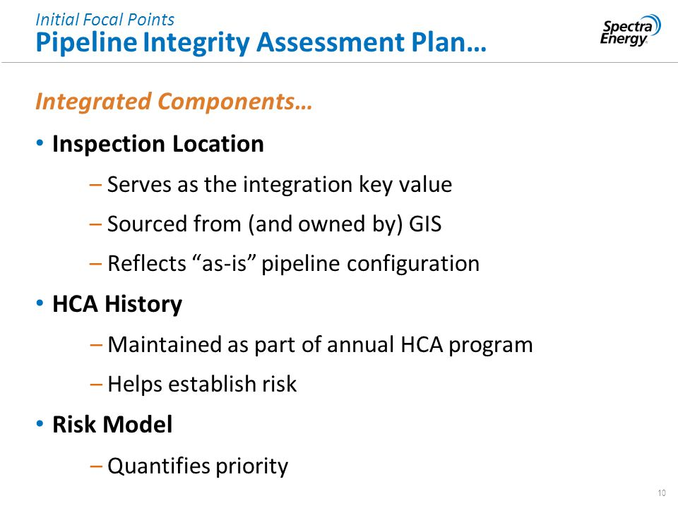 10 Integrated Components… Inspection Location –Serves as the integration key value –Sourced from (and owned by) GIS –Reflects as-is pipeline configuration HCA History –Maintained as part of annual HCA program –Helps establish risk Risk Model –Quantifies priority Initial Focal Points Pipeline Integrity Assessment Plan…