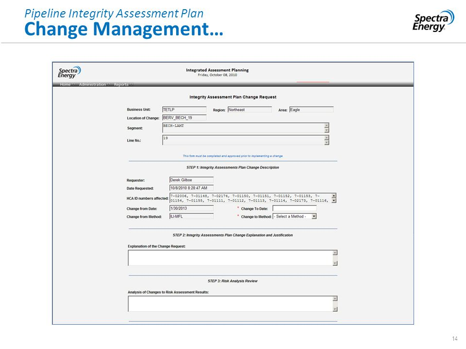 14 Pipeline Integrity Assessment Plan Change Management…