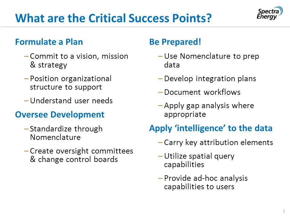3 What are the Critical Success Points? Formulate a Plan –Commit to a vision, mission & strategy –Position organizational structure to support –Unders