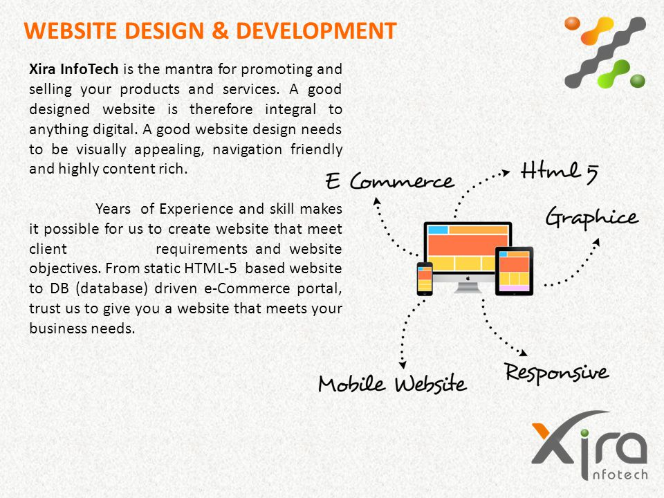 WEBSITE DESIGN & DEVELOPMENT Xira InfoTech is the mantra for promoting and selling your products and services. A good designed website is therefore in