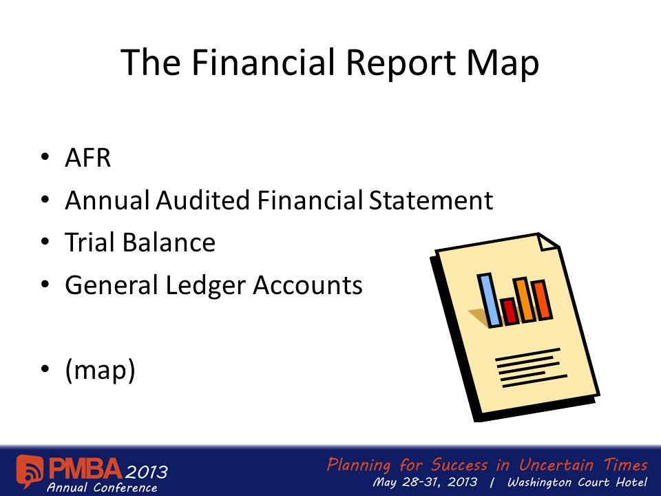 The Financial Report Map AFR Annual Audited Financial Statement Trial Balance General Ledger Accounts (map)