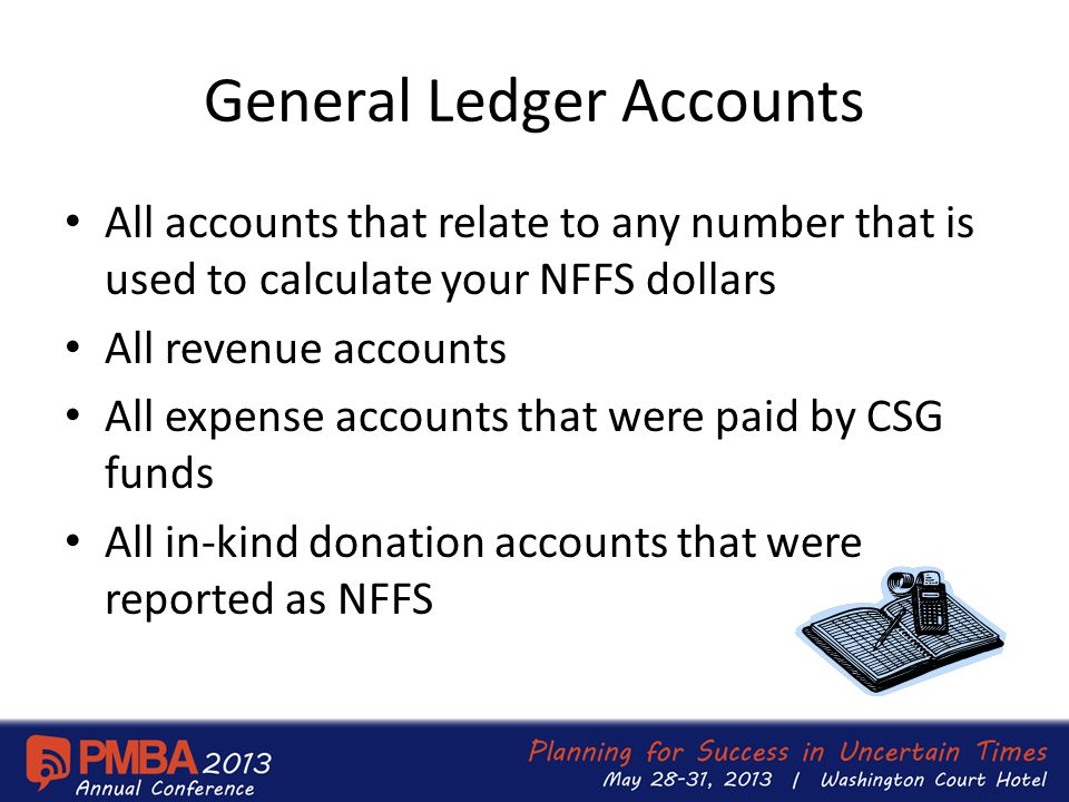 General Ledger Accounts All accounts that relate to any number that is used to calculate your NFFS dollars All revenue accounts All expense accounts that were paid by CSG funds All in-kind donation accounts that were reported as NFFS