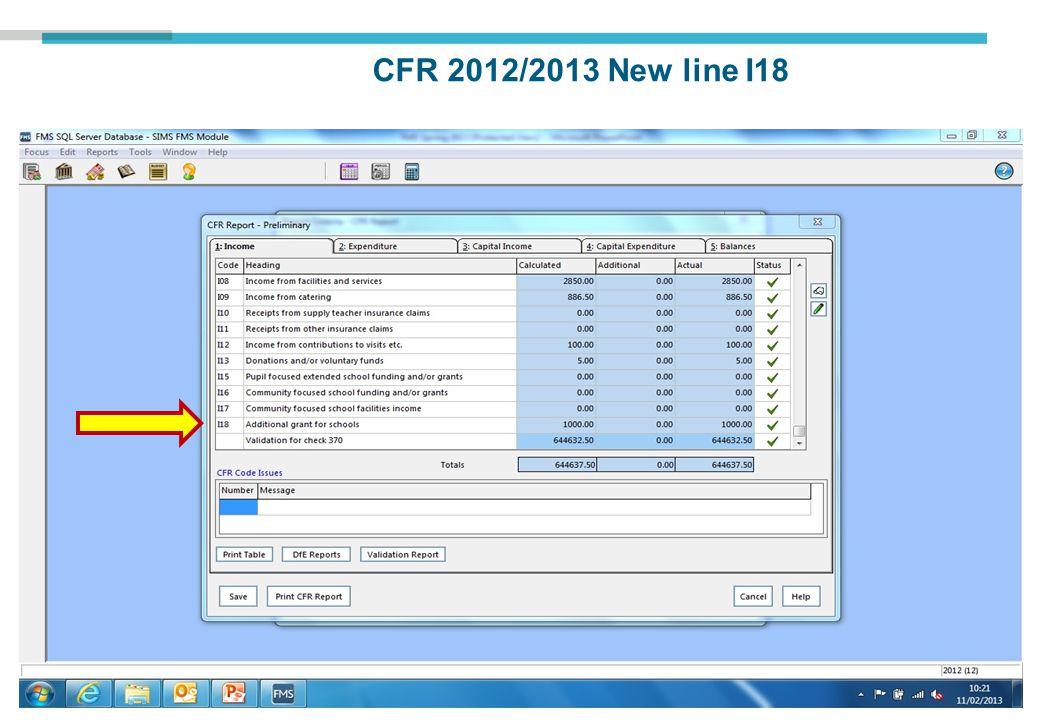 CFR 2012/2013 New line I18