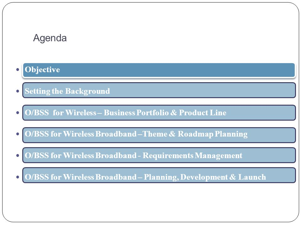 Agenda Objective Setting the Background O/BSS for Wireless – Business Portfolio & Product Line O/BSS for Wireless Broadband –Theme & Roadmap Planning