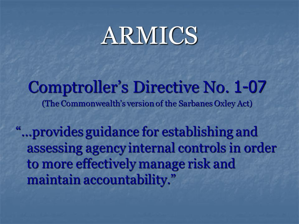 ARMICS Comptroller's Directive No.