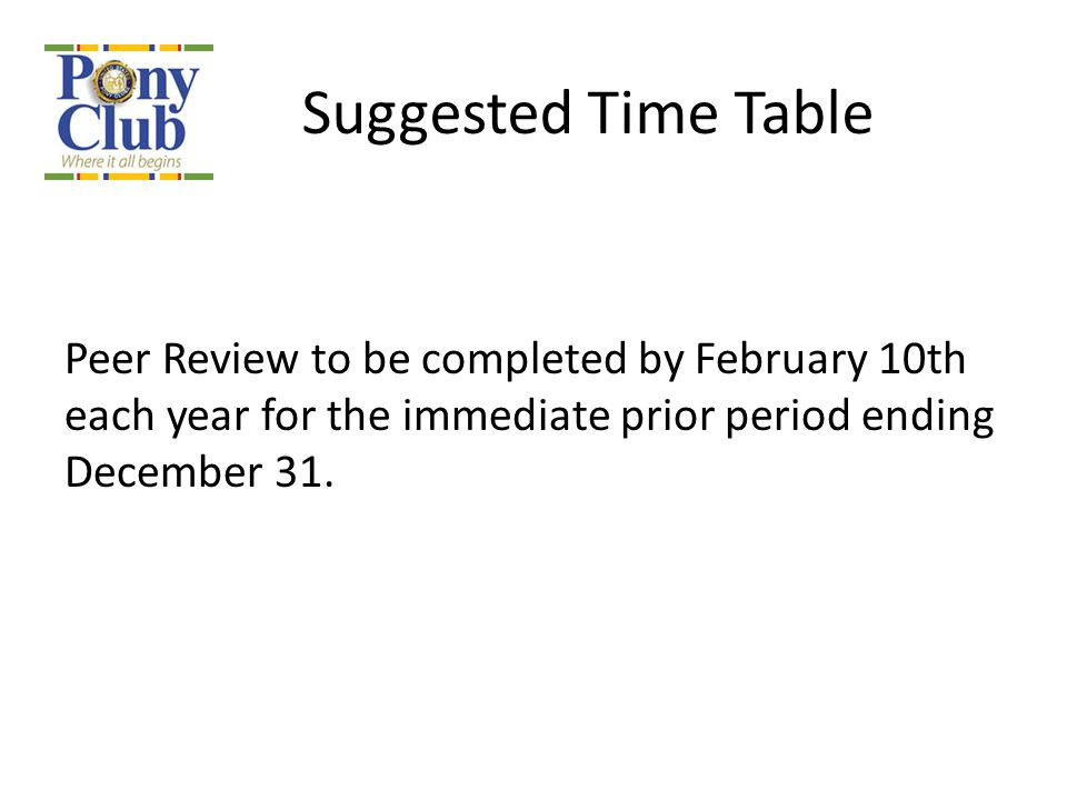 Suggested Time Table Peer Review to be completed by February 10th each year for the immediate prior period ending December 31.