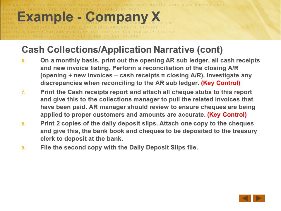 Example - Company X Cash Collections/Application Narrative (cont) 6.