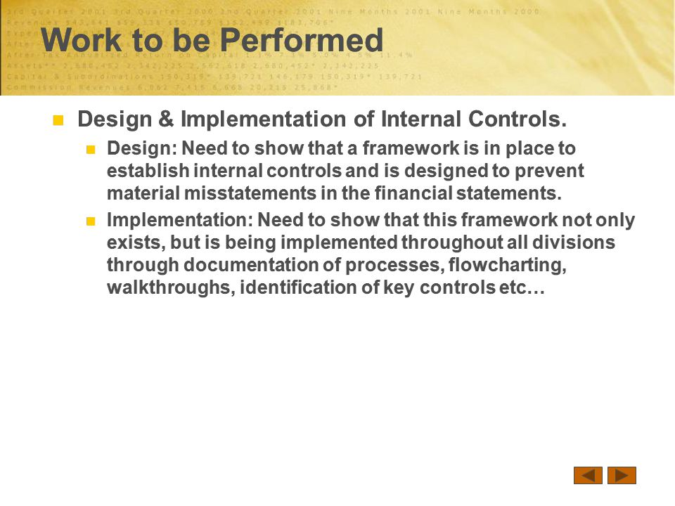 Design & Implementation of Internal Controls.