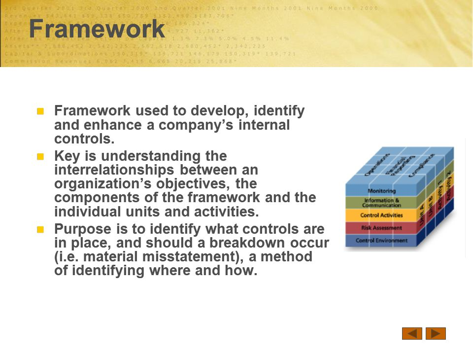 Framework used to develop, identify and enhance a company's internal controls.