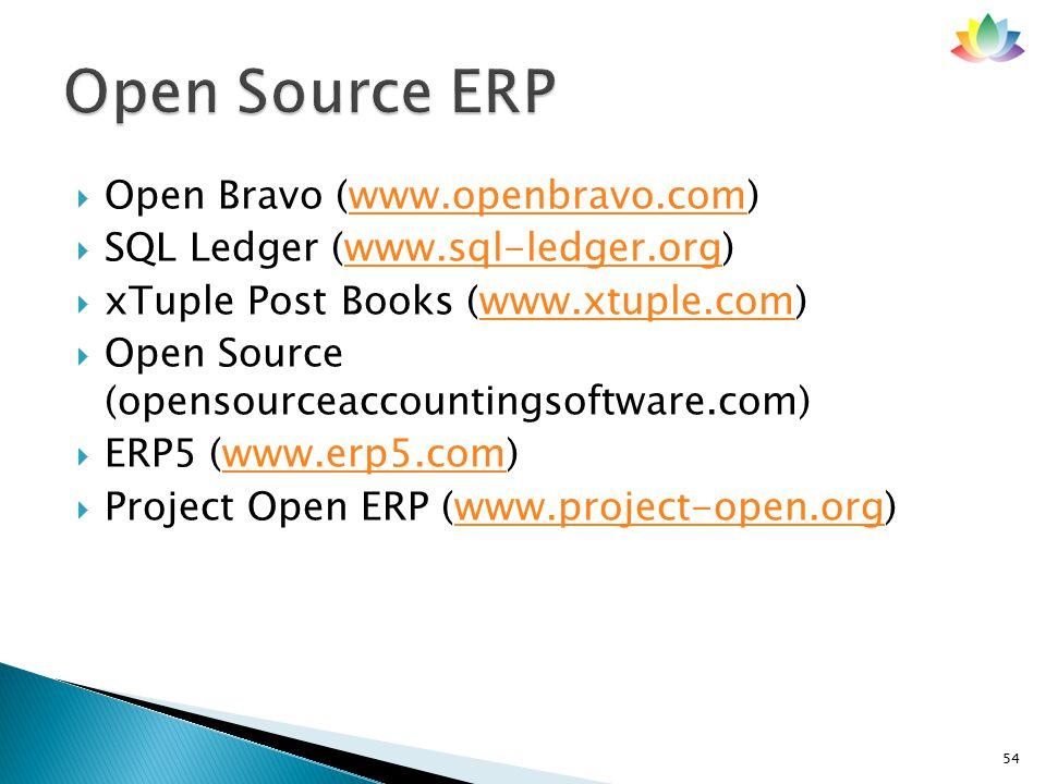  Open Bravo (www.openbravo.com)www.openbravo.com  SQL Ledger (www.sql-ledger.org)www.sql-ledger.org  xTuple Post Books (www.xtuple.com)www.xtuple.com  Open Source (opensourceaccountingsoftware.com)  ERP5 (www.erp5.com)www.erp5.com  Project Open ERP (www.project-open.org)www.project-open.org 54