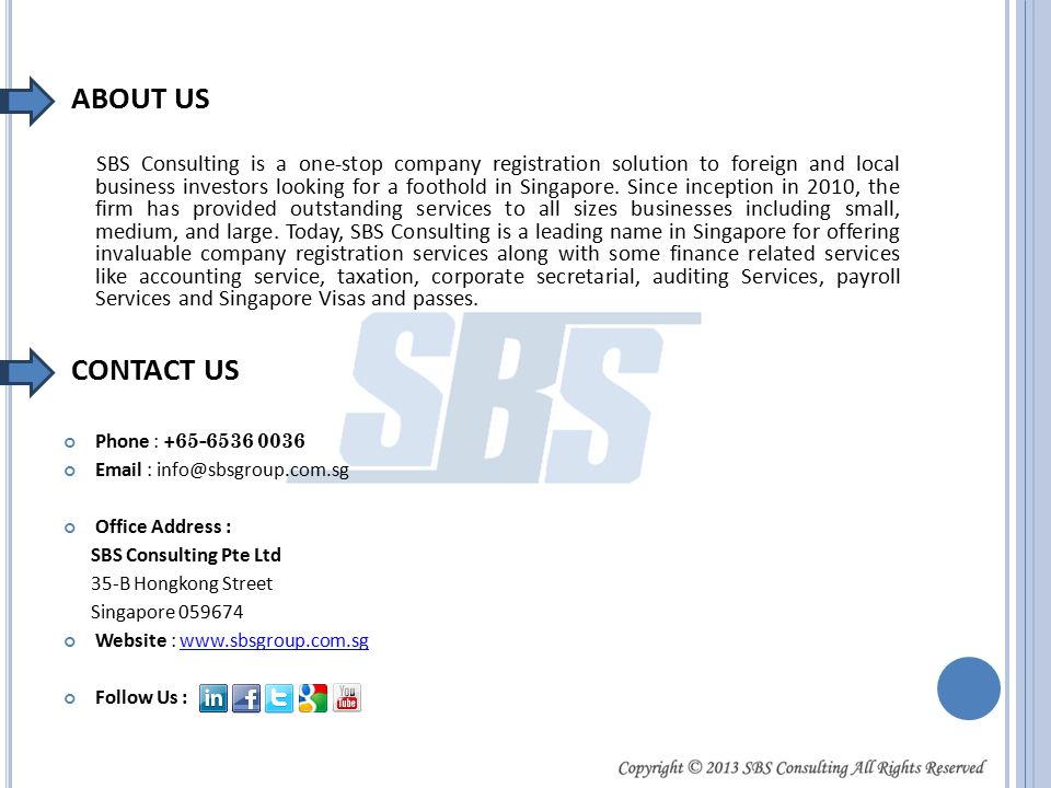 SBS Consulting is a one-stop company registration solution to foreign and local business investors looking for a foothold in Singapore.