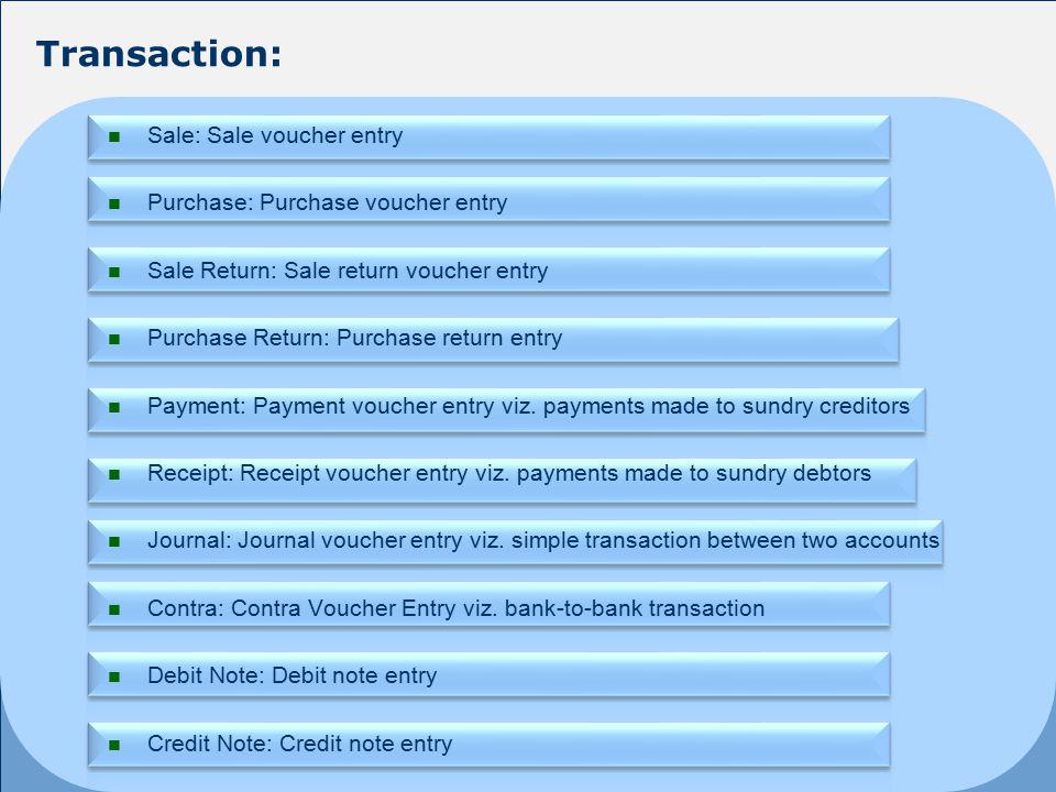 Sale: Sale voucher entry Purchase: Purchase voucher entry Sale Return: Sale return voucher entry Purchase Return: Purchase return entry Payment: Payment voucher entry viz.